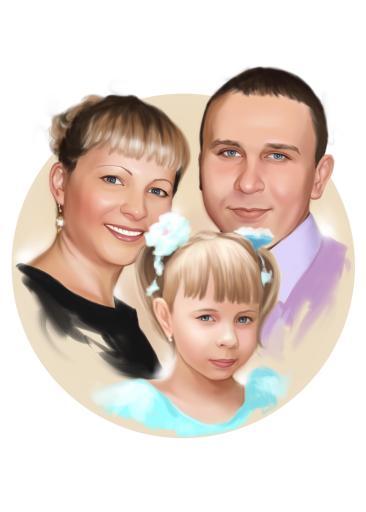 Семейный портрет по фото на холсте в Нижнем Тагиле — правильный подарок!