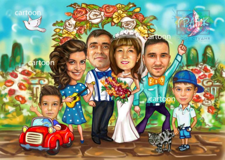 Шарж по фото на годовщину свадьбы на заказ в Нижнем Тагиле…