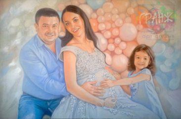 Семейный портрет по фото маслом на холсте
